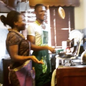 Couple cooking (Eniola & Funke)